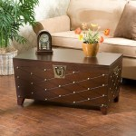 Gorgeous SEI Espresso Nailhead Cocktail Table Trunk With Antique Gold Nail Heads