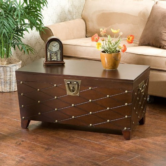 Gorgeous Sei Espresso Nailhead Cocktail Table Trunk With