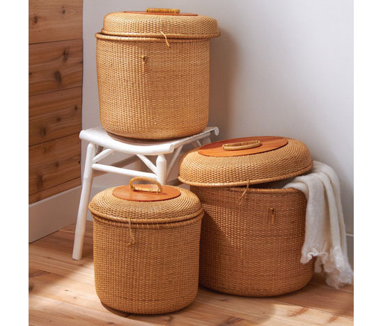 Set Of 3 Rattan Baskets With Lids From Burkedecor