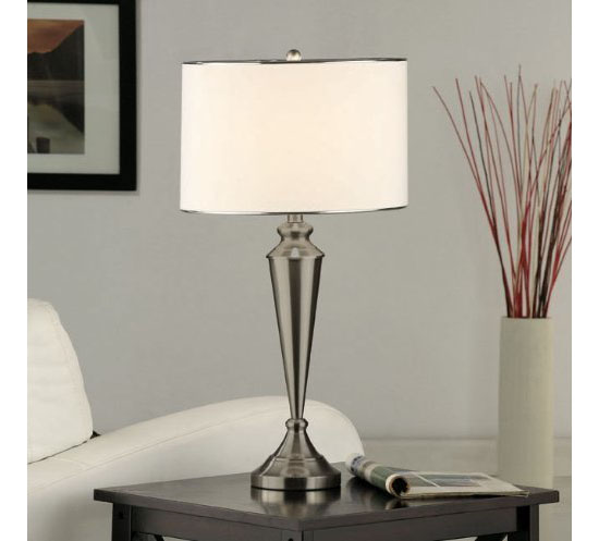 Set of Two Nickel Metal and Fabric Shade Table Lamps