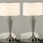 Accentuate Your Room With An Elegant Set Of Two Nickel Metal And Fabric Shade Table Lamps