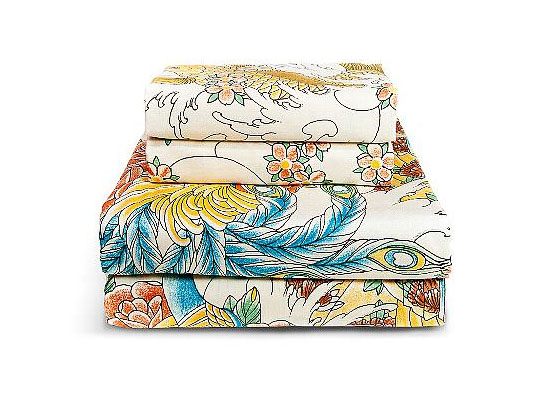 Geisha Garden 300 Thread Count Peacock Bed Sheet Set by Sin In Linen