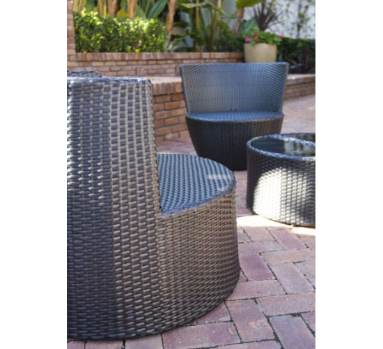 Six Piece Stackable All Weather Modern Outdoor Balcony Patio Furniture Set
