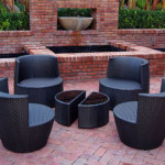 Six Piece Stackable All Weather Modern Outdoor Balcony Patio Furniture Set Is S