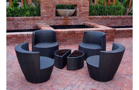Epic Six Piece Stackable All Weather Modern Outdoor Balcony Patio Furniture Set