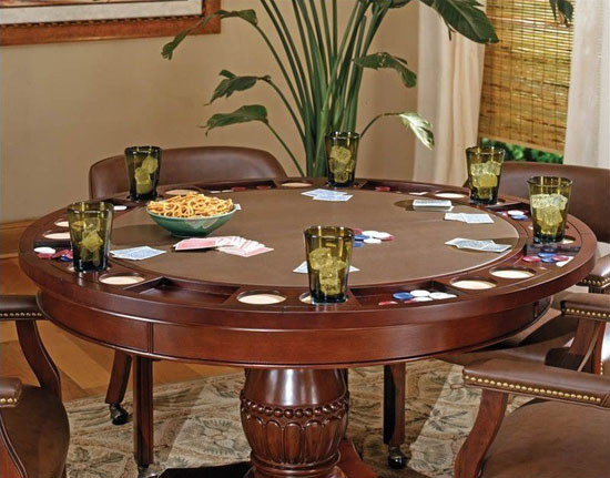 Steve Silver Company Tournament Brown Top Poker Table