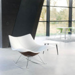 Stingray Modern Rocking Chair with Comfortable White Leather Seat