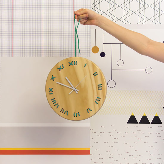 Stitched Wall Clock by Metrocuadro Design