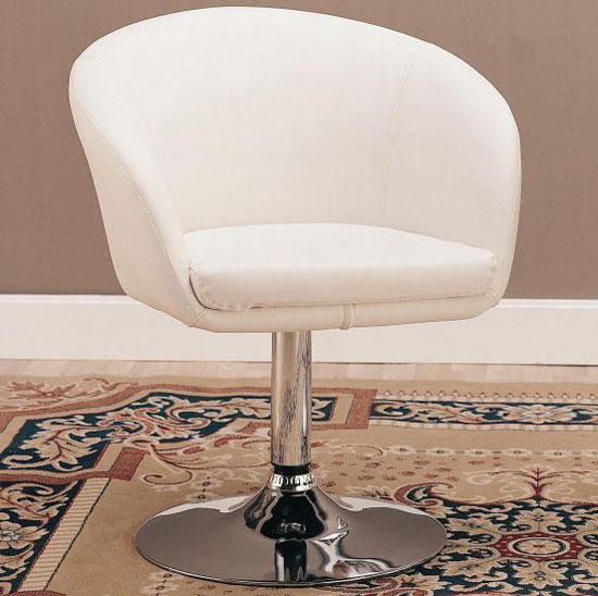 Swivel Chair in White Bycast Leather-like Vinyl