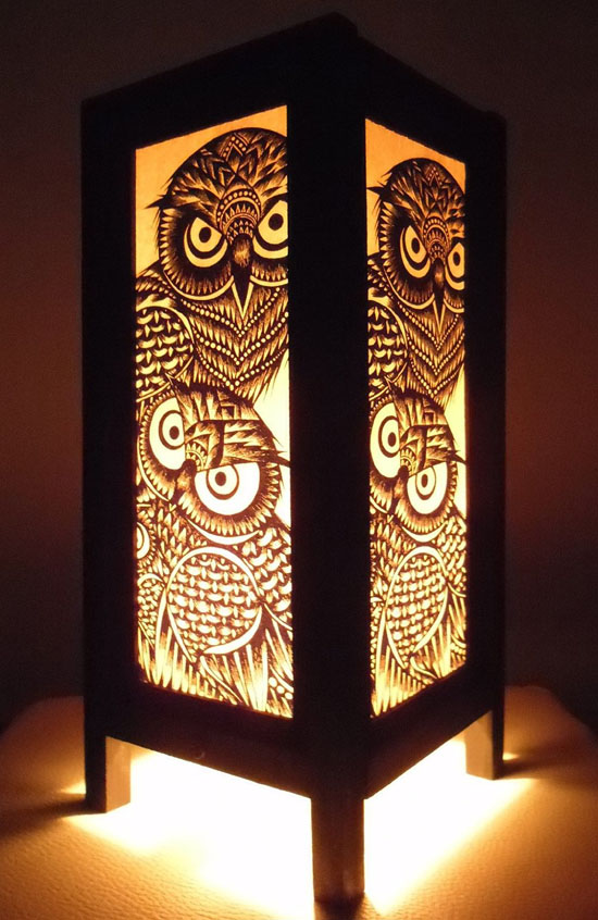 Thai Vintage Handmade Asian Oriental Handcraft Night Owl Bird Bedside Table Lights