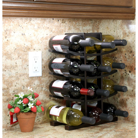 12-Bottle Dark Espresso Bamboo Wine Rack