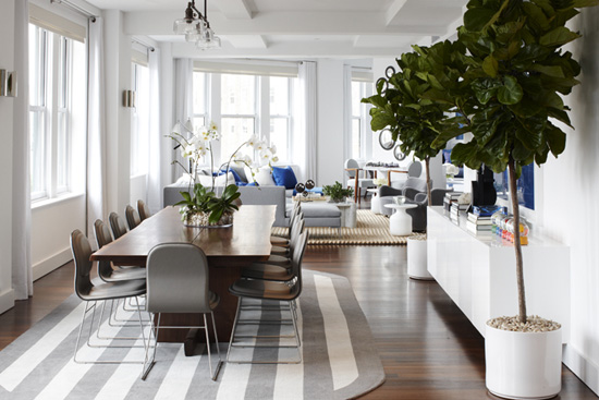 Dining Room of a Loft in the west village, NYC by Delphine Krakoff - Top 20 Black and White Décorating Ideas to Inspire You