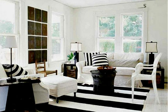 Living Room by White Apartments - Top 20 Black and White Décorating Ideas to Inspire You