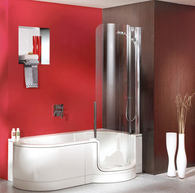 Modern Bathtub Shower twinline showers, modern tub shower for small space from artweger