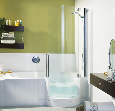 Twinline Showers Modern Tub Shower For Small Space From