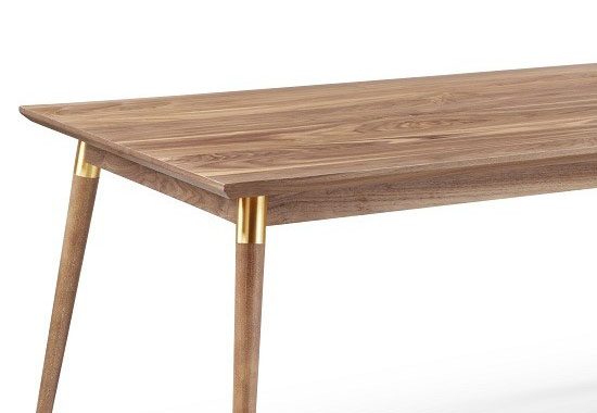 Victory Rectangular Dining Table in Walnut and Gold