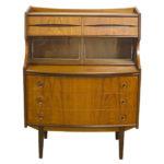 Design Danish Teak Bureau Desk Book Shelf Features Retro Design to Fit Vintage Office Decor