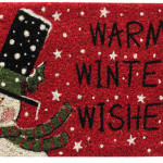 Warm Winter Wishes Snowman Doormat Welcomes Guests With A Holiday Ambiance