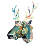 Wooden Deer's Head Artistic Wall Decoration for Plain Wall