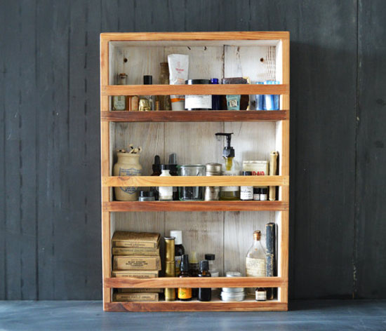 Vintage and Sustainable Wood Apothecary Cabinet Storage by Peg and Awl